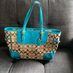 Coach bag, turquoise suede and patent accents